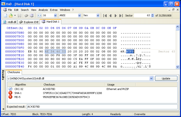 HxD Hex editor screen