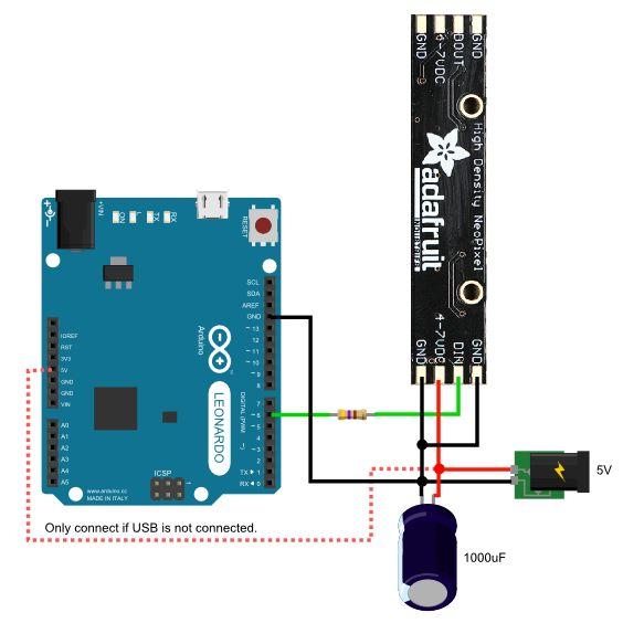 NeoPixel aansluiten op arduino