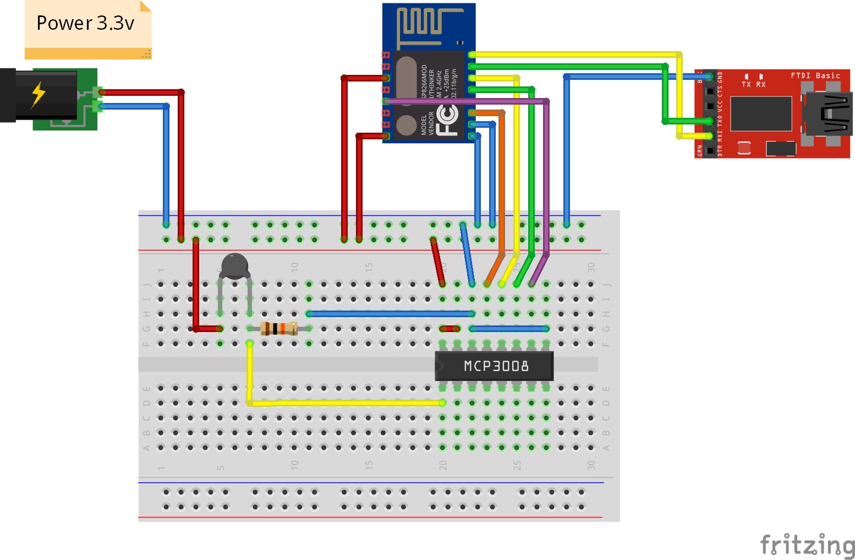 esp8266 esp-12 met MCP3008 en NTC-PTC