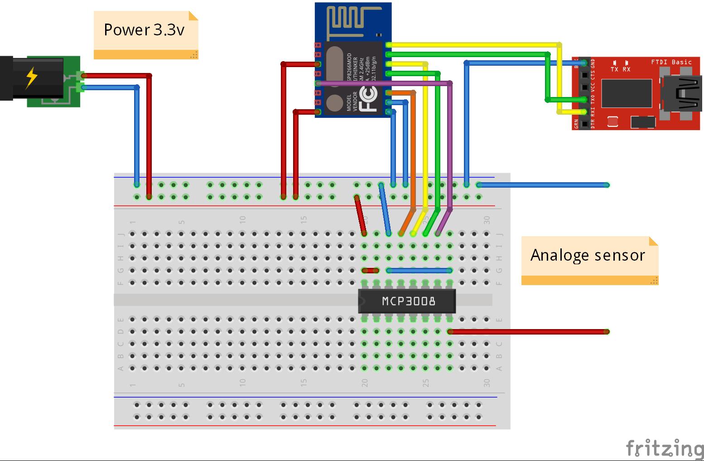 esp8266 esp-12 met MCP3008 schema