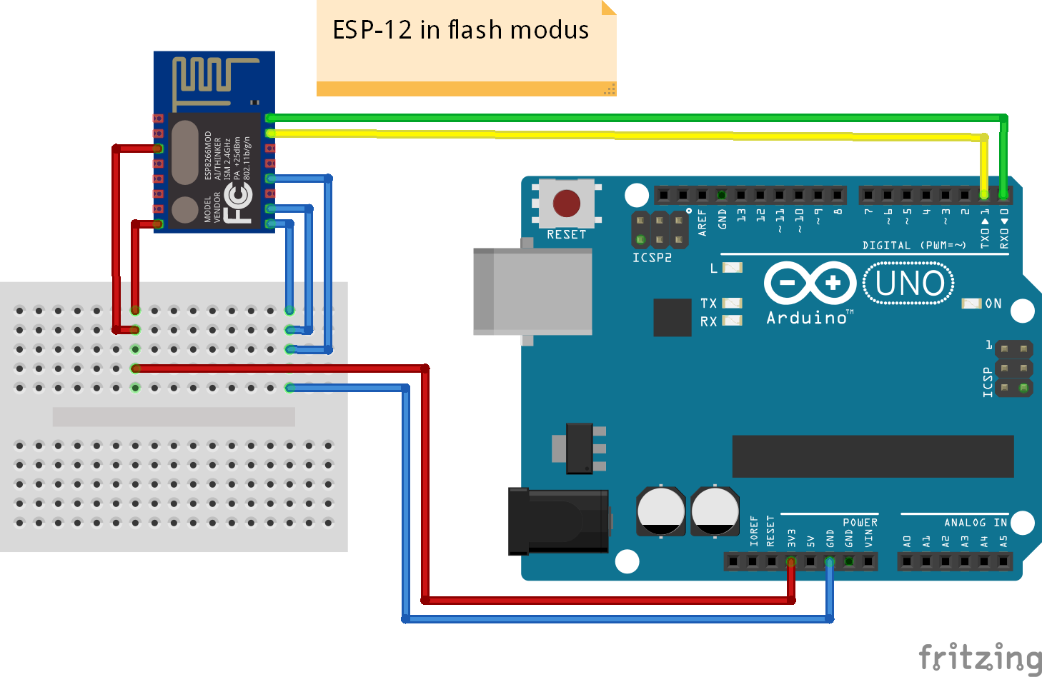 esp8266 esp-12 module aansluiten in flash modus via Arduino