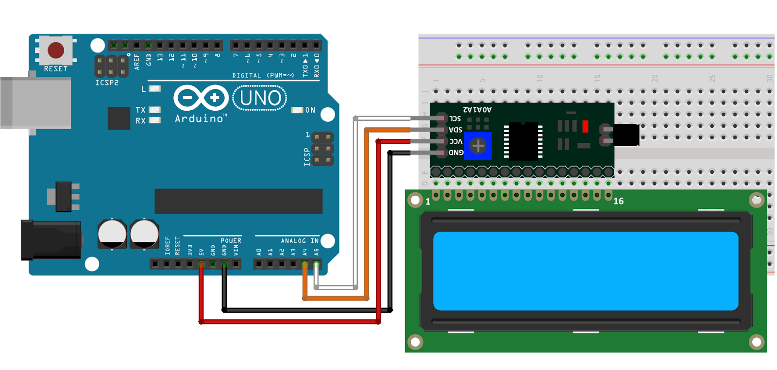 Arduino display lcd 16x2 i2c schema