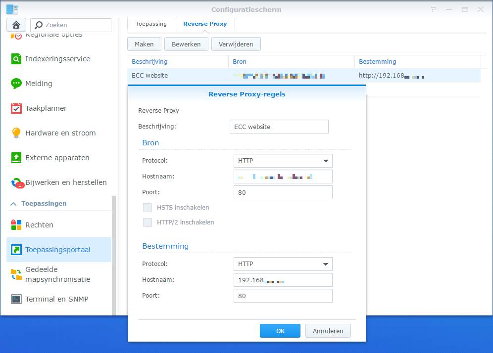 DSM 6 reverse proxy screen