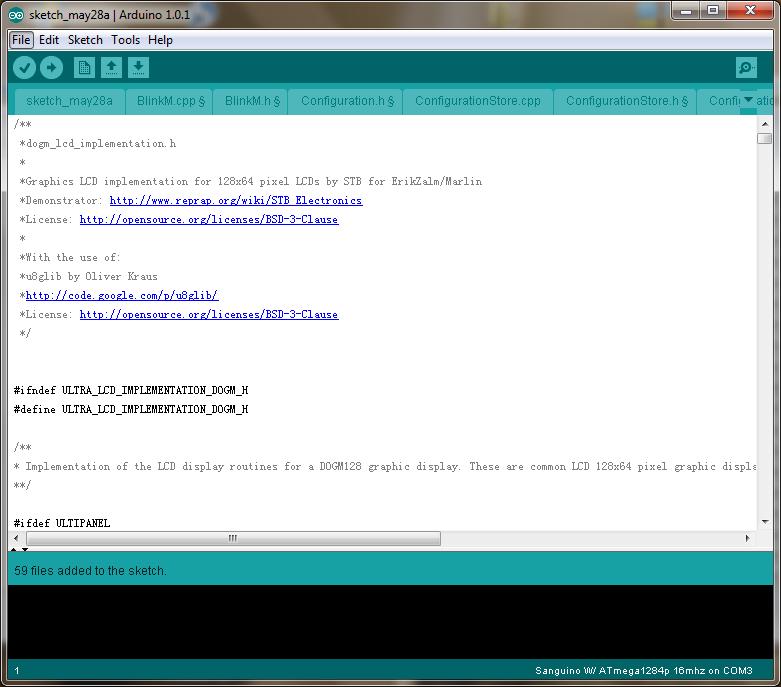 How to install the firmware for Sanguinololu - drag files into arduino