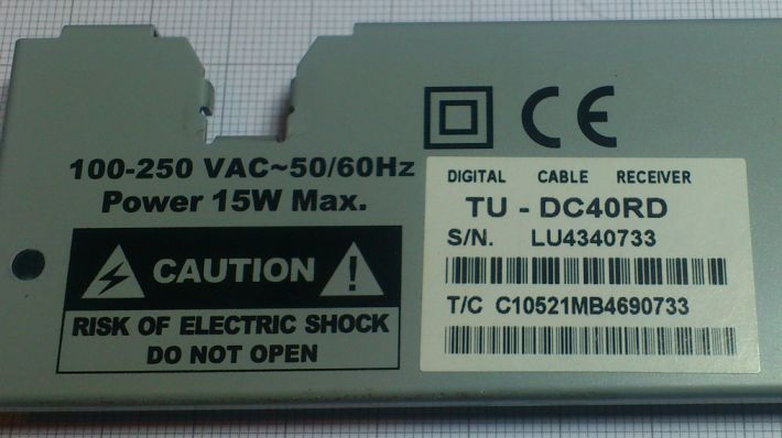 Panasonic TU-DC40RD decoder achterkant