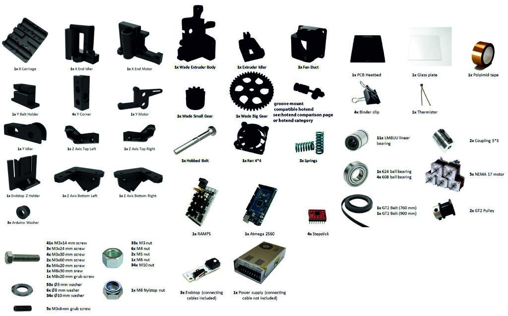 Prusa i3 Mega materiaallijst