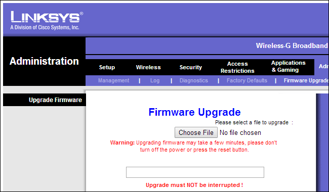 linksys firmware upgrade via webinterface