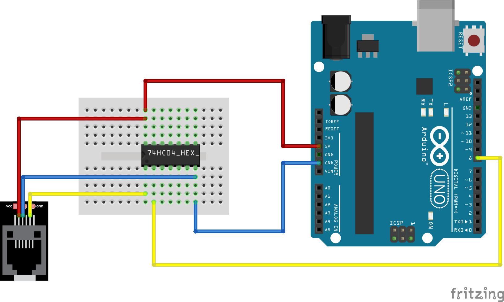 p1 uitlezen arduino inverter gate 7404 IC