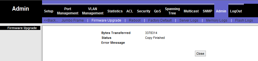 linksys SWR2008x firmware upgrade via webinterface compleet
