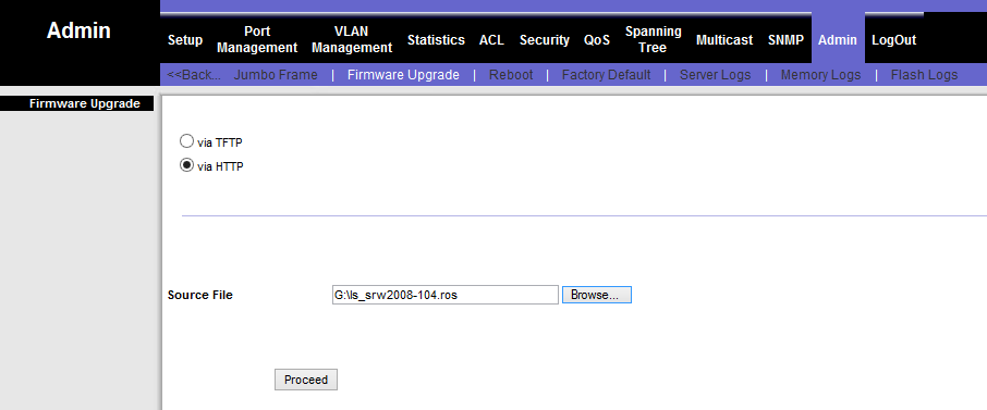 linksys SWR2008x firmware upgrade via webinterface