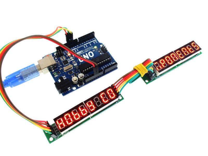 Arduino 8x7 segmenten doorgekoppeld voorbeeld MAX7219