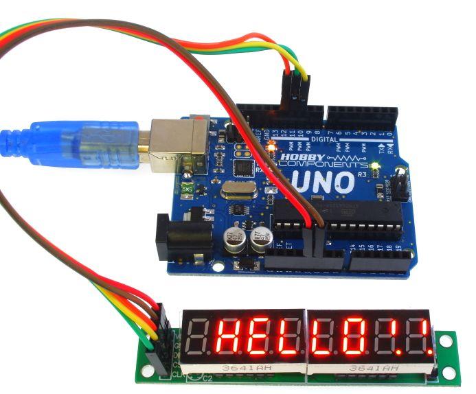 Arduino 8x7 segmenten voorbeeld MAX7219