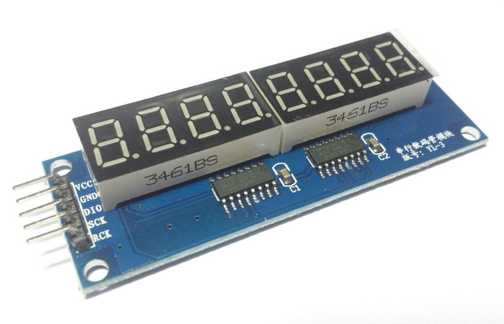 Display module 8x7 segmenten (75HC595) bovenkant