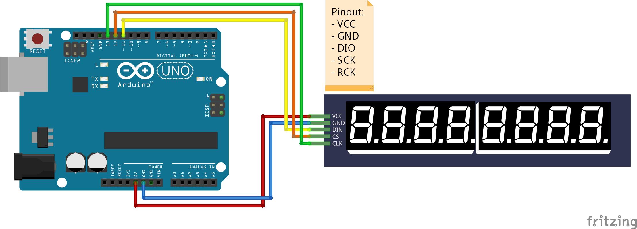 Display module 8x7 segmenten module SPI (75HC595) arduino schema