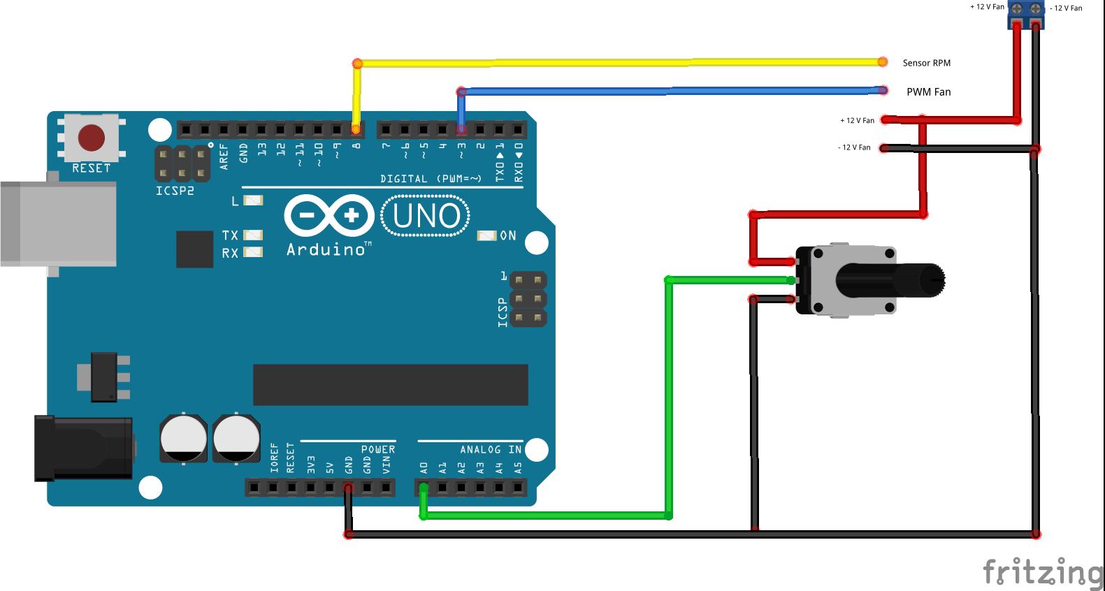 Fritzing - 4 Wire Fan arduino schema met potmeter