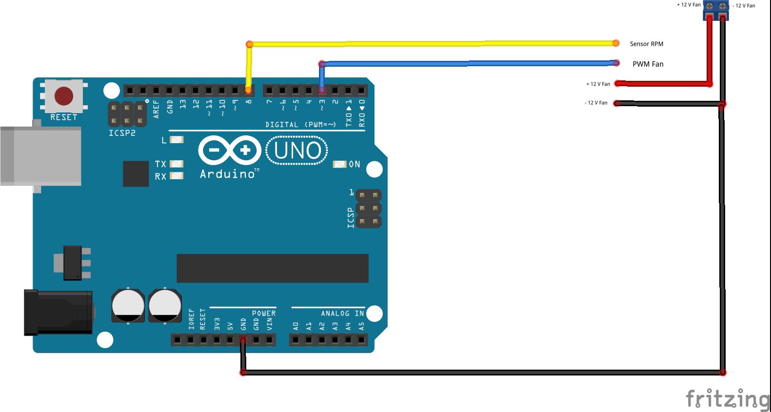 Fritzing - 4 Wire Fan arduino schema