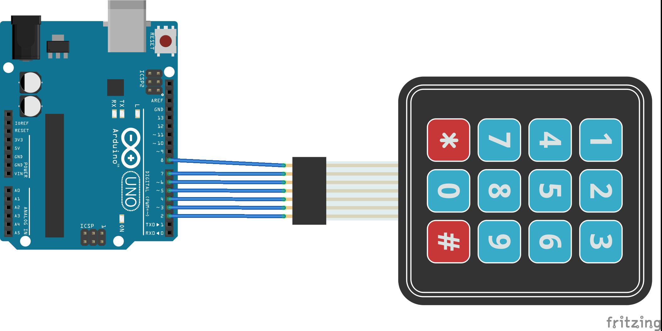 Keypad 4x3 met membraam schakelaars arduino schema