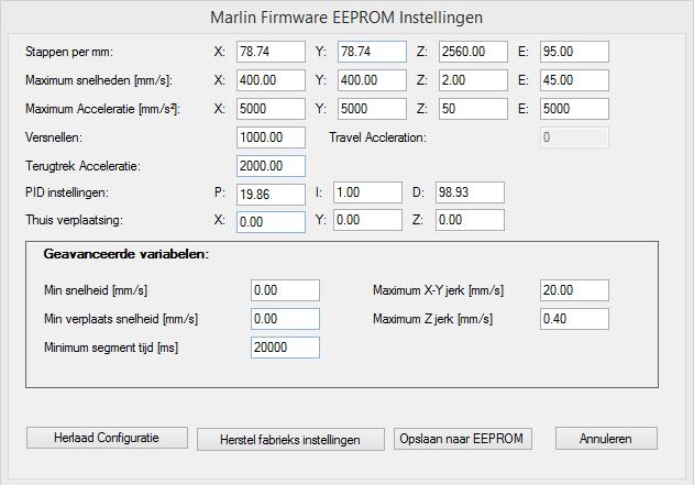 geeetech prusa i3 printer settings EEPROM