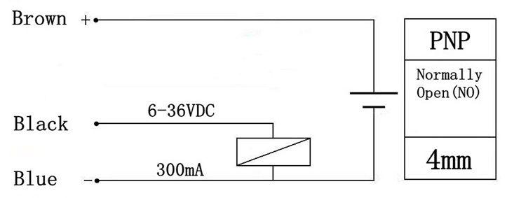 Afstand detectie sensor inductief PNP schema