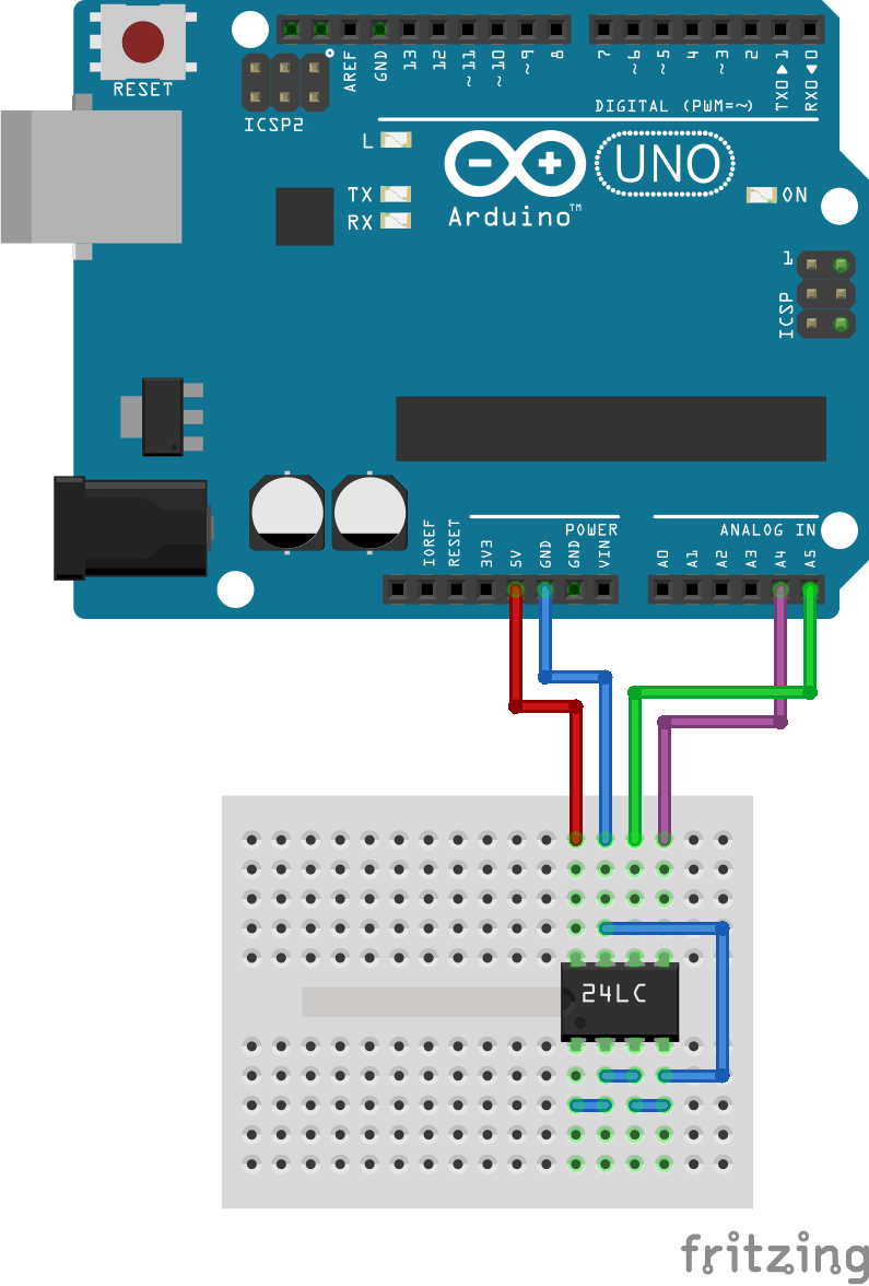 Fritzing LC24xxx EEPROM op Arduino