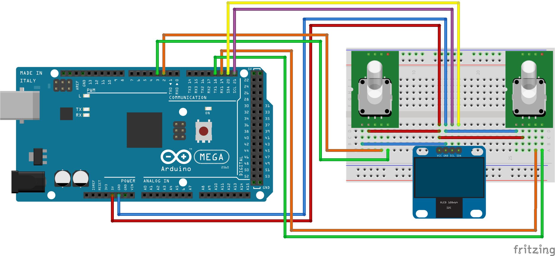 Fritzing - Rotary Encoders met OLED display arduino MEGA