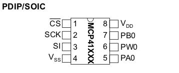 MCP41xxx pinout