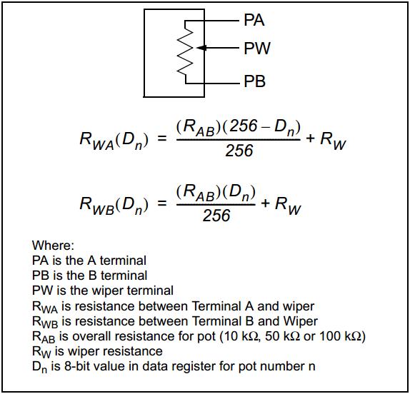 MCP41xxx weerstand berekenen
