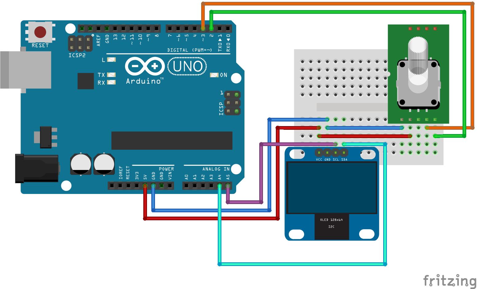 Rotary Encoder met OLED display arduino UNO