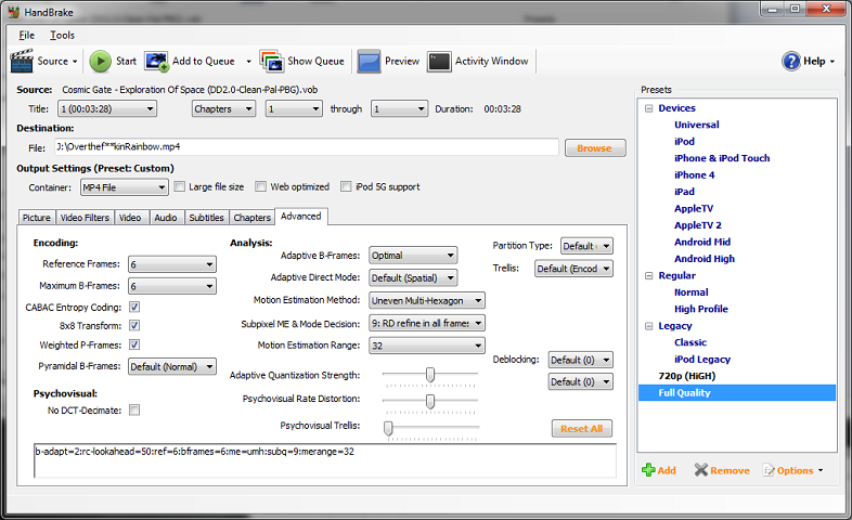 Handbrake presets screen 01
