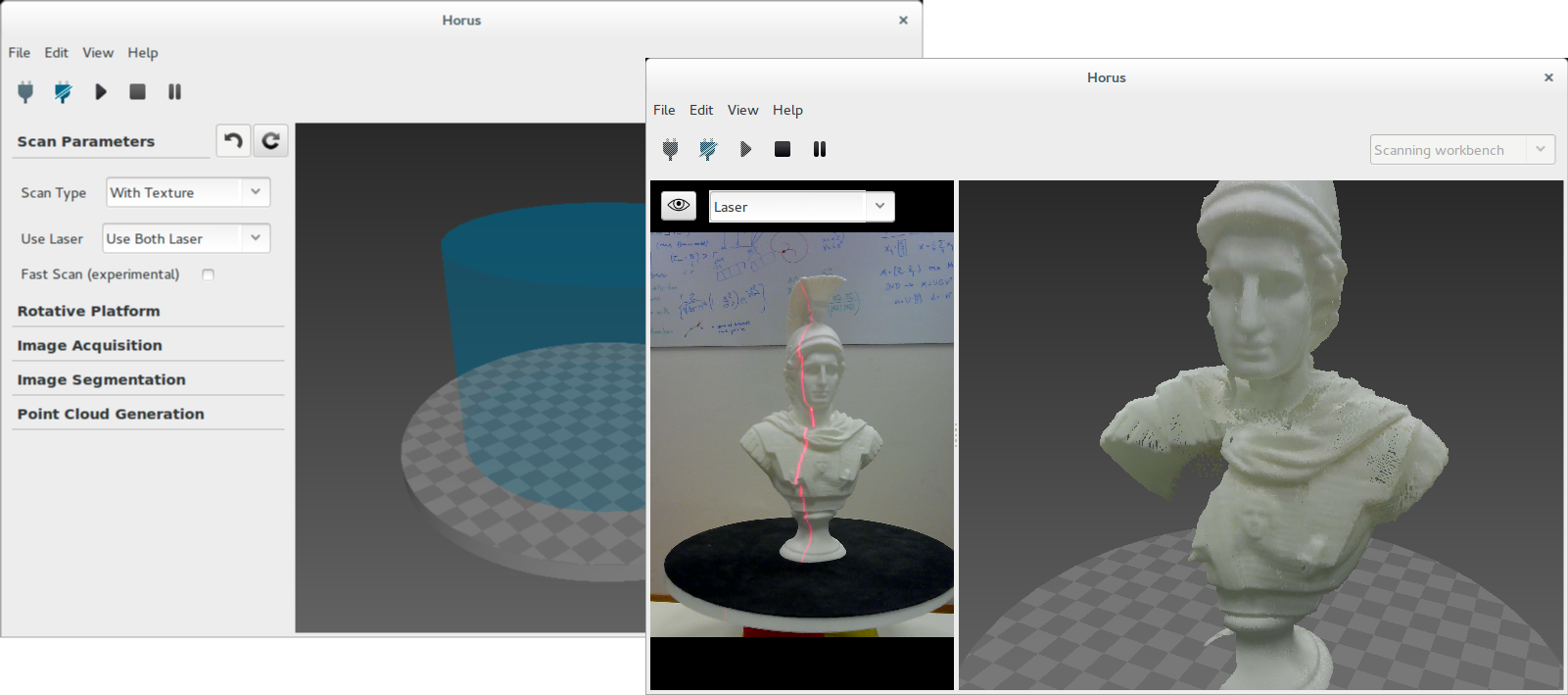 Horus 3d scanning software screen 01