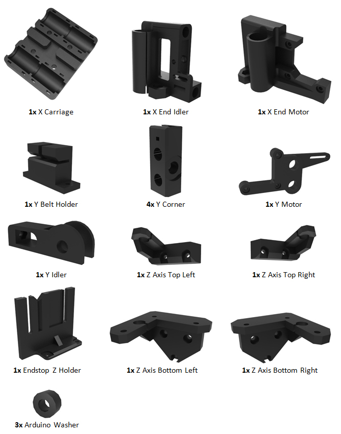 Prusa i3 Rework plastic onderdelen