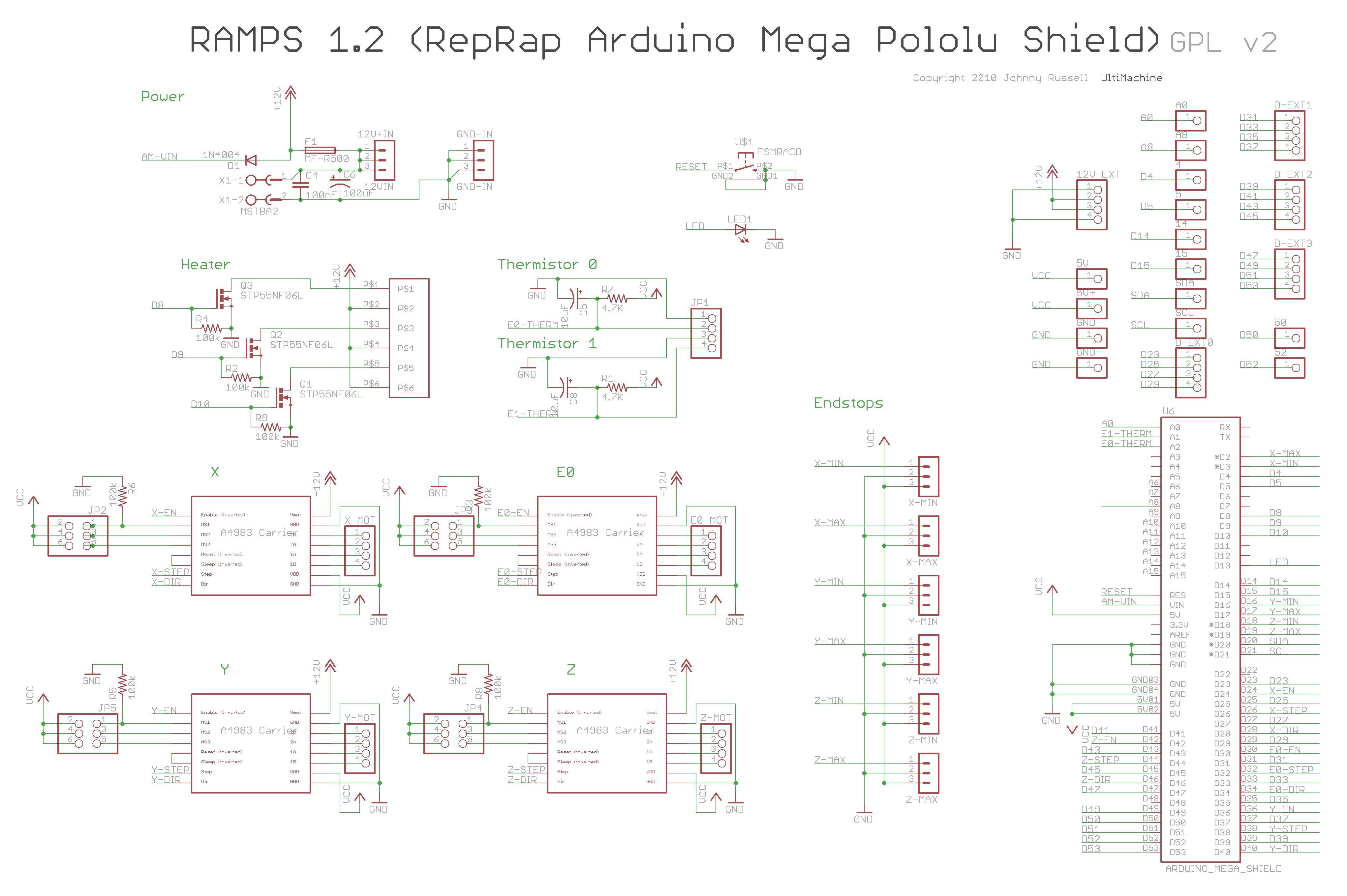 Arduino MEGA Shield - RAMPS on