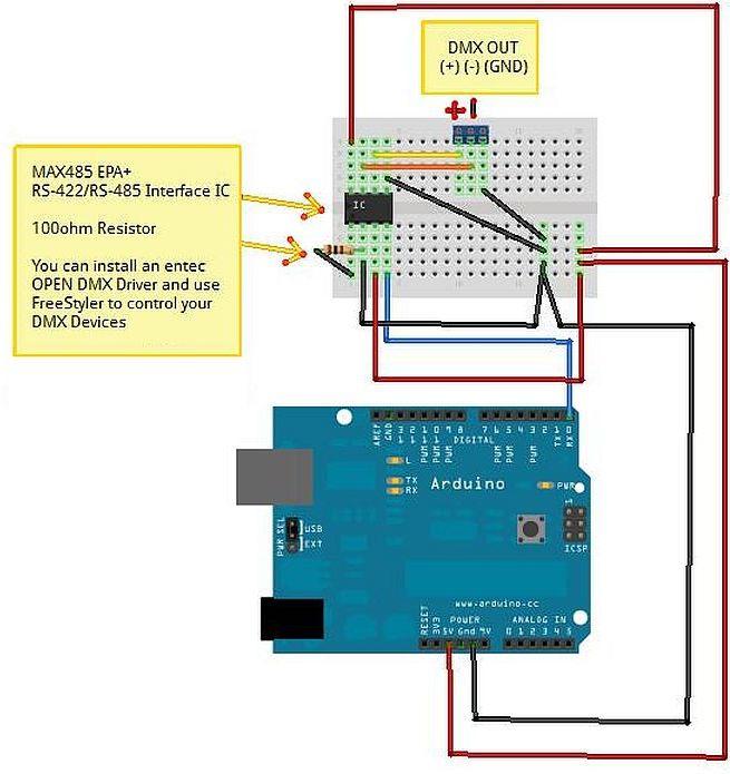 DMX - USB Adapter met MAX485 en Arduino